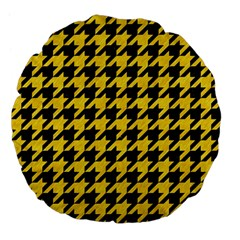 Houndstooth1 Black Marble & Yellow Colored Pencil Large 18  Premium Flano Round Cushions by trendistuff