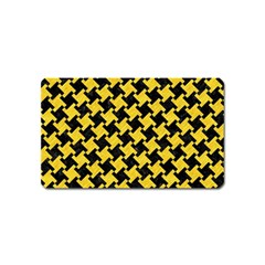 Houndstooth2 Black Marble & Yellow Colored Pencil Magnet (name Card) by trendistuff