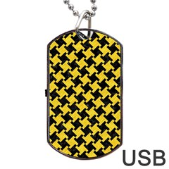 Houndstooth2 Black Marble & Yellow Colored Pencil Dog Tag Usb Flash (two Sides) by trendistuff