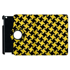 Houndstooth2 Black Marble & Yellow Colored Pencil Apple Ipad 2 Flip 360 Case by trendistuff