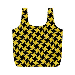 Houndstooth2 Black Marble & Yellow Colored Pencil Full Print Recycle Bags (m)  by trendistuff