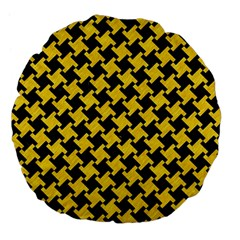 Houndstooth2 Black Marble & Yellow Colored Pencil Large 18  Premium Flano Round Cushions by trendistuff