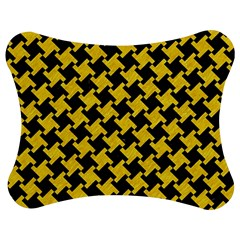 Houndstooth2 Black Marble & Yellow Colored Pencil Jigsaw Puzzle Photo Stand (bow) by trendistuff