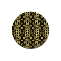 Hexagon1 Black Marble & Yellow Colored Pencil (r) Magnet 3  (round) by trendistuff