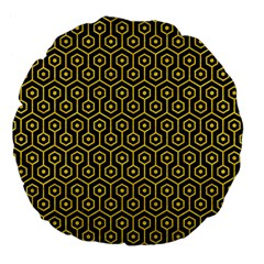 Hexagon1 Black Marble & Yellow Colored Pencil (r) Large 18  Premium Flano Round Cushions by trendistuff