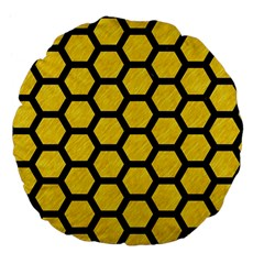 Hexagon2 Black Marble & Yellow Colored Pencil Large 18  Premium Flano Round Cushions by trendistuff