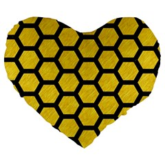 Hexagon2 Black Marble & Yellow Colored Pencil Large 19  Premium Flano Heart Shape Cushions by trendistuff