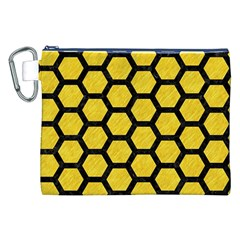 Hexagon2 Black Marble & Yellow Colored Pencil Canvas Cosmetic Bag (xxl) by trendistuff