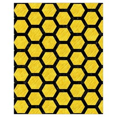 Hexagon2 Black Marble & Yellow Colored Pencil Drawstring Bag (small) by trendistuff
