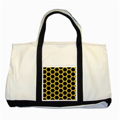 Hexagon2 Black Marble & Yellow Colored Pencil (r) Two Tone Tote Bag by trendistuff