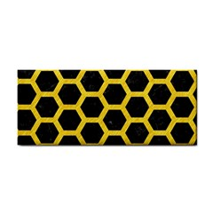 Hexagon2 Black Marble & Yellow Colored Pencil (r) Cosmetic Storage Cases by trendistuff