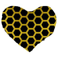 Hexagon2 Black Marble & Yellow Colored Pencil (r) Large 19  Premium Heart Shape Cushions by trendistuff