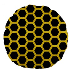 Hexagon2 Black Marble & Yellow Colored Pencil (r) Large 18  Premium Flano Round Cushions by trendistuff