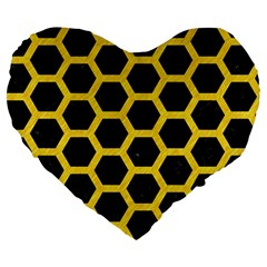 Hexagon2 Black Marble & Yellow Colored Pencil (r) Large 19  Premium Flano Heart Shape Cushions by trendistuff