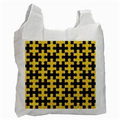 Puzzle1 Black Marble & Yellow Colored Pencil Recycle Bag (two Side)  by trendistuff