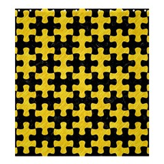 Puzzle1 Black Marble & Yellow Colored Pencil Shower Curtain 66  X 72  (large)  by trendistuff