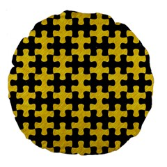 Puzzle1 Black Marble & Yellow Colored Pencil Large 18  Premium Flano Round Cushions by trendistuff