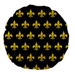 Royal1 Black Marble & Yellow Colored Pencil Large 18  Premium Flano Round Cushions by trendistuff
