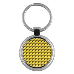 Scales1 Black Marble & Yellow Colored Pencil Key Chains (round)  by trendistuff