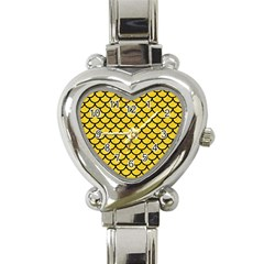 Scales1 Black Marble & Yellow Colored Pencil Heart Italian Charm Watch by trendistuff