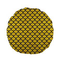 Scales1 Black Marble & Yellow Colored Pencil Standard 15  Premium Flano Round Cushions by trendistuff