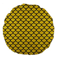 Scales1 Black Marble & Yellow Colored Pencil Large 18  Premium Flano Round Cushions by trendistuff
