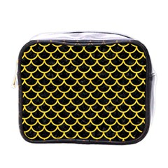 Scales1 Black Marble & Yellow Colored Pencil (r) Mini Toiletries Bags by trendistuff