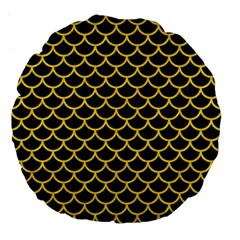 Scales1 Black Marble & Yellow Colored Pencil (r) Large 18  Premium Flano Round Cushions by trendistuff