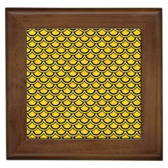 Scales2 Black Marble & Yellow Colored Pencil Framed Tiles by trendistuff