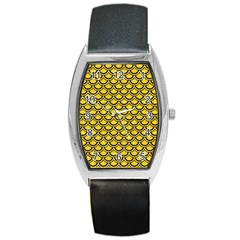 Scales2 Black Marble & Yellow Colored Pencil Barrel Style Metal Watch by trendistuff