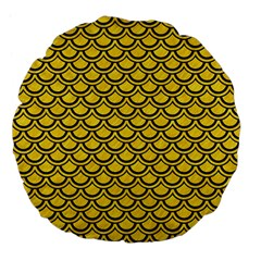 Scales2 Black Marble & Yellow Colored Pencil Large 18  Premium Flano Round Cushions by trendistuff