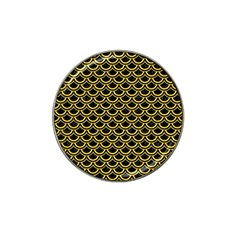 Scales2 Black Marble & Yellow Colored Pencil (r) Hat Clip Ball Marker (4 Pack) by trendistuff