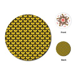 Scales3 Black Marble & Yellow Colored Pencil Playing Cards (round)  by trendistuff