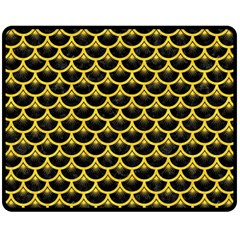 Scales3 Black Marble & Yellow Colored Pencil (r) Fleece Blanket (medium)  by trendistuff