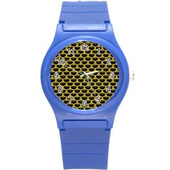 Scales3 Black Marble & Yellow Colored Pencil (r) Round Plastic Sport Watch (s) by trendistuff