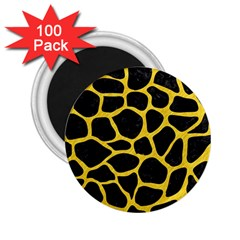 Skin1 Black Marble & Yellow Colored Pencil 2 25  Magnets (100 Pack)  by trendistuff