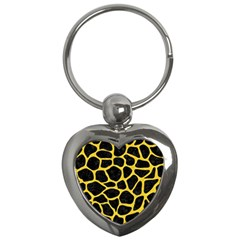 Skin1 Black Marble & Yellow Colored Pencil Key Chains (heart)  by trendistuff