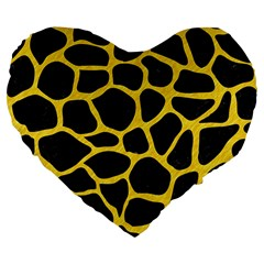 Skin1 Black Marble & Yellow Colored Pencil Large 19  Premium Flano Heart Shape Cushions by trendistuff