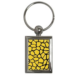 Skin1 Black Marble & Yellow Colored Pencil (r) Key Chains (rectangle)  by trendistuff