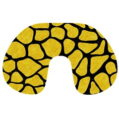 Skin1 Black Marble & Yellow Colored Pencil (r) Travel Neck Pillows