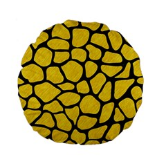 Skin1 Black Marble & Yellow Colored Pencil (r) Standard 15  Premium Flano Round Cushions by trendistuff