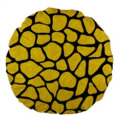 Skin1 Black Marble & Yellow Colored Pencil (r) Large 18  Premium Flano Round Cushions by trendistuff