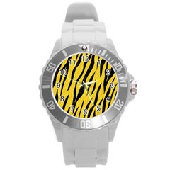 Skin3 Black Marble & Yellow Colored Pencil Round Plastic Sport Watch (l) by trendistuff