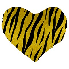 Skin3 Black Marble & Yellow Colored Pencil Large 19  Premium Flano Heart Shape Cushions by trendistuff