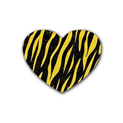 Skin3 Black Marble & Yellow Colored Pencil (r) Heart Coaster (4 Pack)  by trendistuff