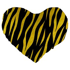 Skin3 Black Marble & Yellow Colored Pencil (r) Large 19  Premium Flano Heart Shape Cushions by trendistuff