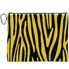 Skin4 Black Marble & Yellow Colored Pencil Canvas Cosmetic Bag (xxxl) by trendistuff
