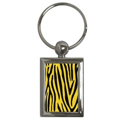 Skin4 Black Marble & Yellow Colored Pencil (r) Key Chains (rectangle)  by trendistuff