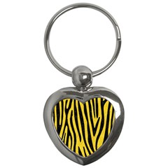 Skin4 Black Marble & Yellow Colored Pencil (r) Key Chains (heart)  by trendistuff