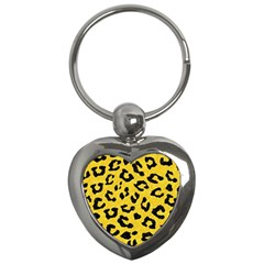 Skin5 Black Marble & Yellow Colored Pencil (r) Key Chains (heart)  by trendistuff